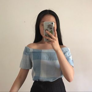 🌊 gingham off the shoulder top 🌊